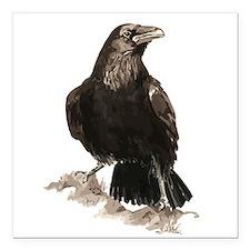 Watercolor Raven Bird Animal Art Square Car Magnet