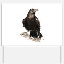 Watercolor Raven Bird Animal Art Yard Sign