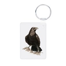 Watercolor Raven Bird Animal Art Keychains