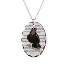 Edgar Allen Poe The Raven Poem Necklace Oval Charm