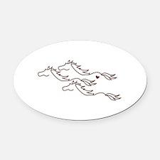 Wild Horses Oval Car Magnet