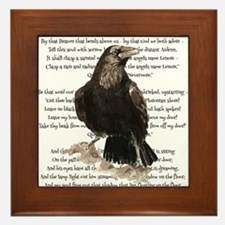Edgar Allen Poe The Raven Poem Framed Tile