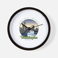 Ferry Boat Crossing Washington Seattle Wall Clock