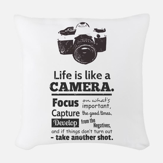 camera-grunge-quote Woven Throw Pillow