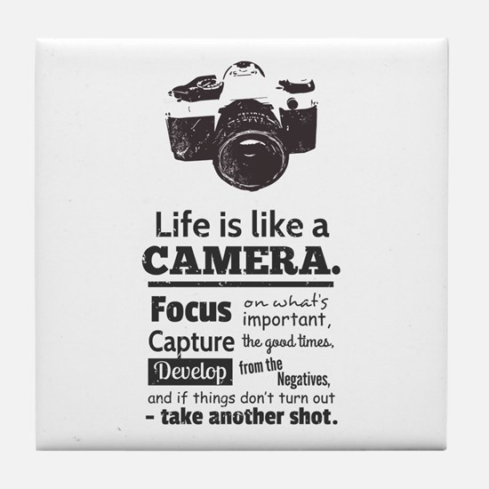 camera-grunge-quote Tile Coaster