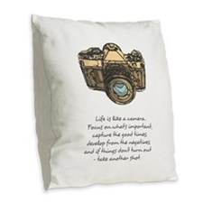 camera-quote-colour Burlap Throw Pillow
