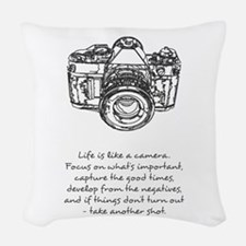 camera-quote Woven Throw Pillow