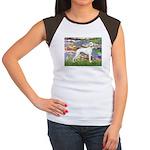 Lilies & Whippet Women's Cap Sleeve T-Shirt