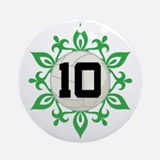 Volleyball Player Number 10 Ornament (Round)