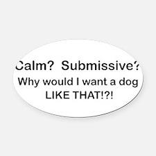 Funny Bull terrier dog Oval Car Magnet
