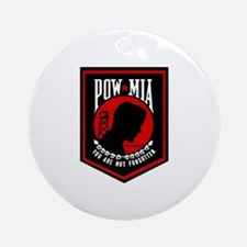 POW MIA (Red) Ornament (Round)