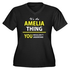 Unique Amelia Women's Plus Size V-Neck Dark T-Shirt