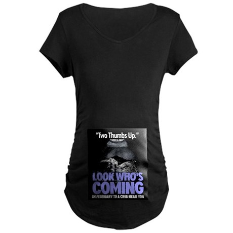 Look Whos Coming in February Maternity Dark T-Shir