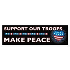 SUPPORT OUR TROOPS/MAKE PEACE Bumper Bumper Sticker