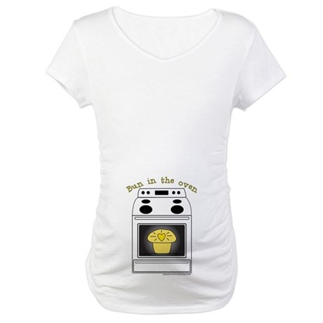 Yellow Bun in the Oven White Maternity T-Shirt
