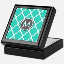 Teal Gray Moroccan Lattice Monogram Keepsake Box