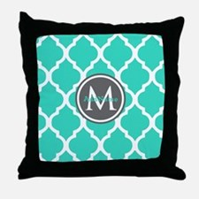 Teal Gray Moroccan Lattice Monogram Throw Pillow