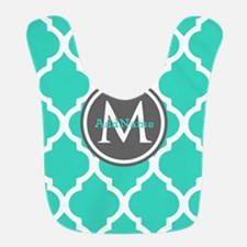 Teal Gray Moroccan Lattice Monogram Bib