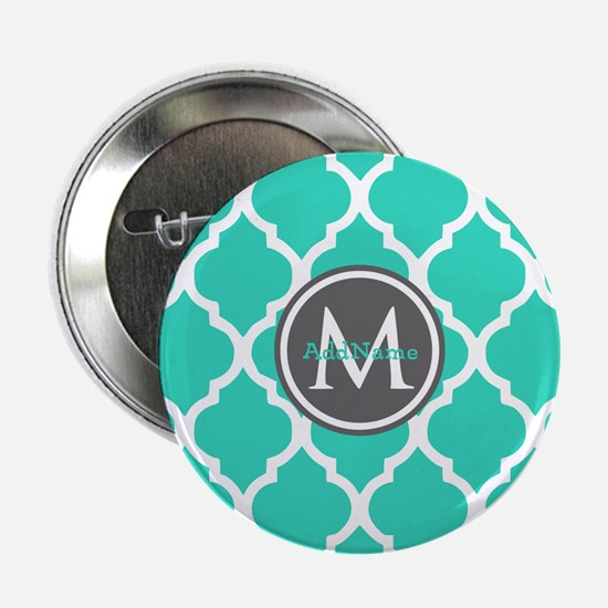 "Teal Gray Moroccan Lattice Monogram 2.25"" Button"