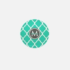 Teal Gray Moroccan Lattice M Mini Button (10 pack)
