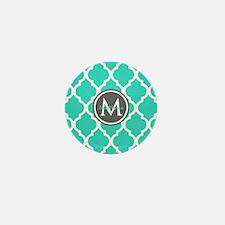 Teal Gray Moroccan Lattice Mini Button (100 pack)