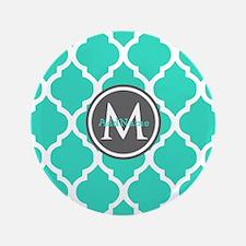 "Teal Gray Moroccan Lattice Monogram 3.5"" Button"