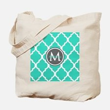 Teal Gray Moroccan Lattice Monogram Tote Bag