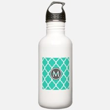 Teal Gray Moroccan Lat Water Bottle