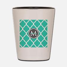 Teal Gray Moroccan Lattice Monogram Shot Glass