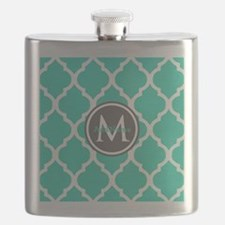 Teal Gray Moroccan Lattice Monogram Flask