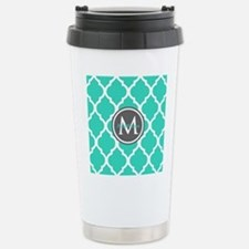 Teal Gray Moroccan Latt Stainless Steel Travel Mug