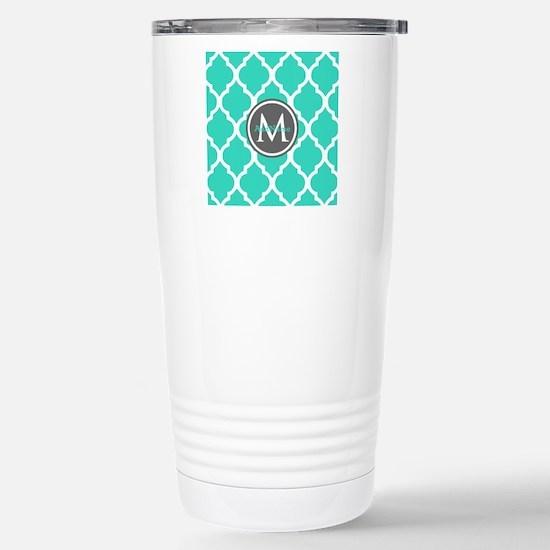 Teal Gray Moroccan Latt Stainless Steel Travel Mug