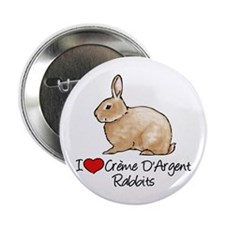 "I Heart Creme DArgent Rabbits 2.25"" Button"