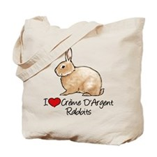 I Heart Creme DArgent Rabbits Tote Bag