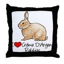 I Heart Creme DArgent Rabbits Throw Pillow