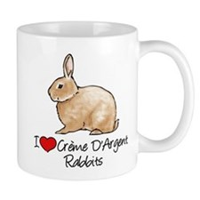 I Heart Creme DArgent Rabbits Mugs