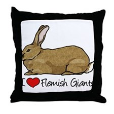 I Heart Flemish Giant Rabbits Throw Pillow