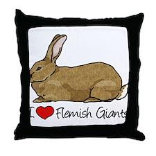 I Heart Flemish Giant Rabbits Throw Pillow