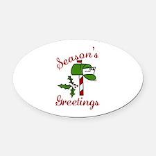 Seasons Greetings Oval Car Magnet