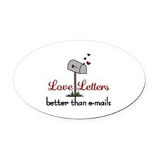 Love Letters Oval Car Magnet