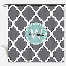 Gray Grey Mint Quatrefoil Monogram Shower Curtain
