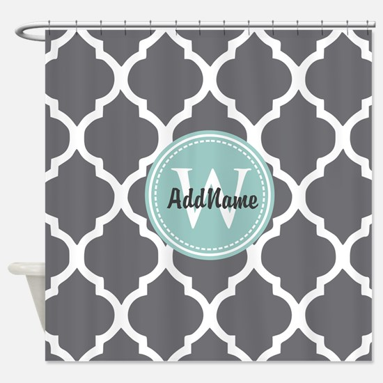 grey and navy shower curtain. Gray Grey Mint Quatrefoil Monogram Shower Curtain Create Your Own Custom  CafePress