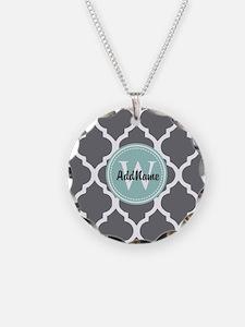 Gray Grey Mint Quatrefoil Mo Necklace