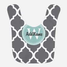 Gray Grey Mint Quatrefoil Monogram Bib
