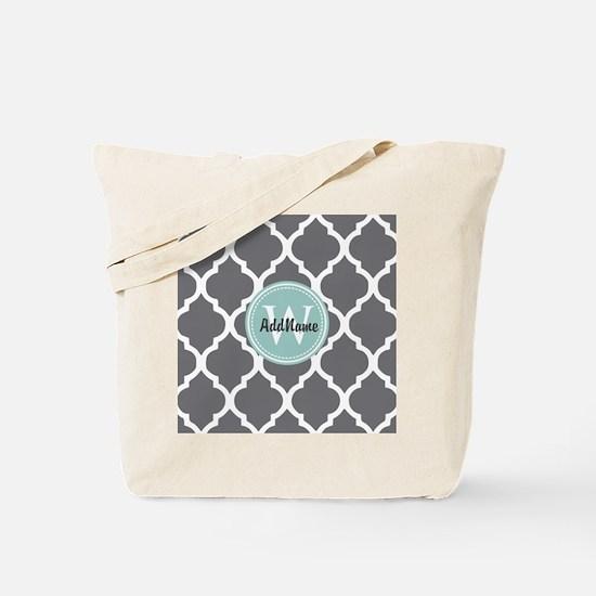 Gray Grey Mint Quatrefoil Monogram Tote Bag