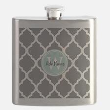 Gray Grey Mint Quatrefoil Monogram Flask