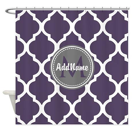 Monogrammed Purple U0026 Grey Quatrefoi Shower Curtain  Purple And Grey Shower Curtain