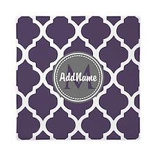 Monogrammed Purple & Grey Quatrefoil Queen Duvet