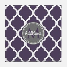 Monogrammed Purple & Grey Quatrefoil Tile Coaster