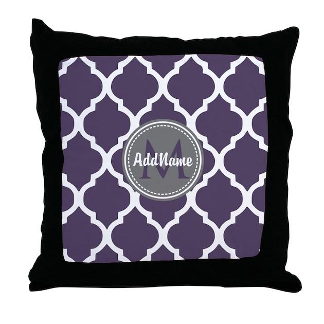 Monogrammed Purple Amp Grey Quatrefoil Throw Pillow By